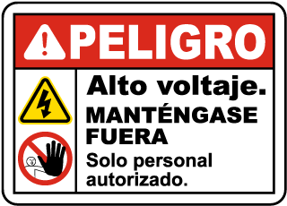 Spanish Danger High Voltage Keep Away Sign