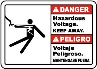 Bilingual Danger Hazardous Voltage Keep Away Sign