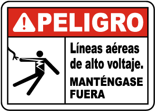 Spanish Danger Hazardous Voltage Overhead Sign