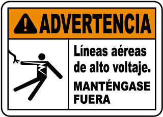 Spanish Warning Hazardous Voltage Overhead Sign