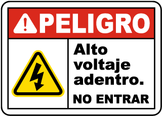 Spanish Danger High Voltage Inside Do Not Enter Sign