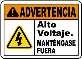 Spanish Warning High Voltage Keep Out Sign