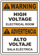 Bilingual Warning High Voltage Electrical Room Sign