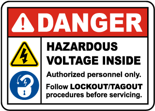 Danger Hazardous Voltage Inside. Authorized Personnel Only. Follow Lockout/Tagout Procedures Before Servicing.