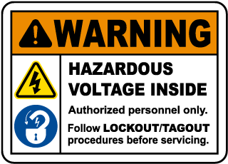 Warning Hazardous Voltage Inside. Authorized Personnel Only. Follow Lockout/Tagout Procedures Before Servicing.