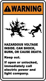 Warning Hazardous Voltage Inside. Can Shock, Burn Or Cause Death.. Label