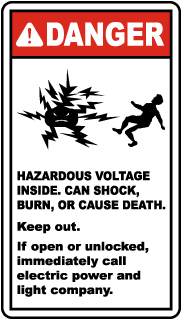 Danger Hazardous Voltage Can Shock, Burn Or Cause Death.. Label