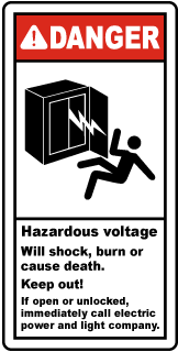 Danger Hazardous voltage Will shock, burn or cause death. Keep out! If open label