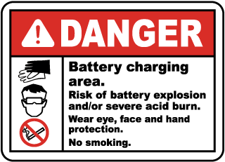 Danger Battery charging area. Risk of battery explosion and/or severe acid burn sign
