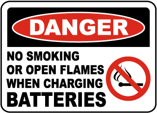 Danger No Smoking Or Open Flames When Charging Batteries sign