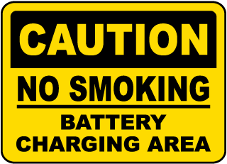 Caution No Smoking Battery Charging Area sign