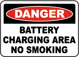Danger Battery Charging Area No Smoking sign
