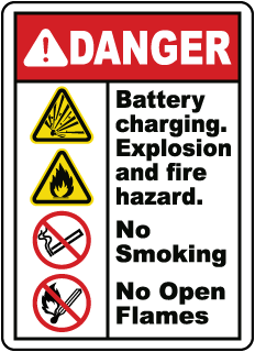 DANGER. Battery charging. Explosion and fire hazard. No Smoking. No Open Flames