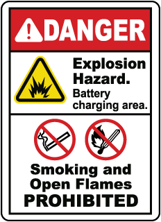 DANGER. Explosion Hazard. Battery charging area. Smoking and Open Flames PROHIBITED