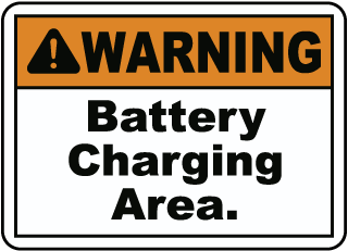 WARNING. Battery Charing Area.
