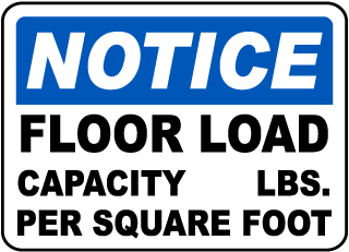 Notice Floor Load Capacity _ Lbs. Per Square Foot Sign