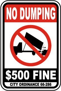 No Dumping $500 Fine City Ordinance 66-286 Sign