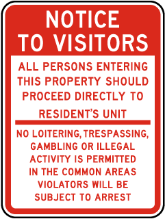 Notice To Visitors All Persons Entering This Property Should Proceed Directly To Resident's Unit No Loitering, Trespassing, Gambling or.. Sign