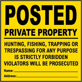 Yellow Posted Private Property Sign