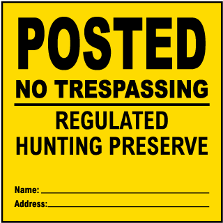 Yellow Posted No Trespassing Sign
