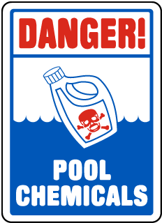 Pool Signs - Danger Pool Chemicals Signs, F6904