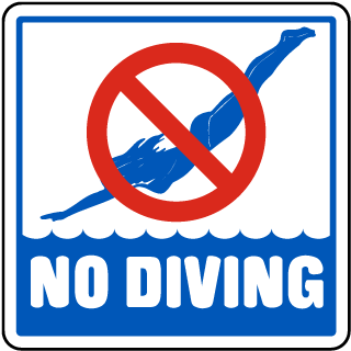 Pool Signs - No Diving Signs, Swimming and Pool Signs, F6909
