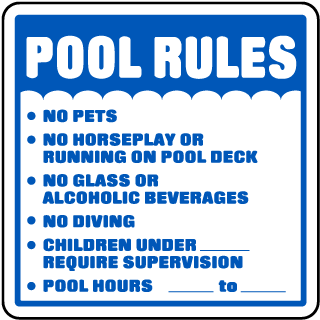 Pool Signs - Pool Rules No Pets No Horseplay Or Running On Pool Deck Signs