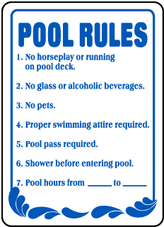Pool Signs - No glass or alcoholic beverages Pool Signs, F6918