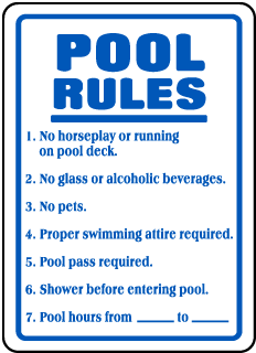 Pool Signs - No horseplay or running on pool deck Signs, F6919