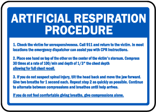 Artificial Respiration Procedure Sign