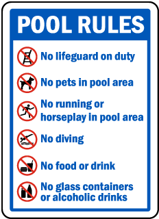 Pool Signs - Recreation Area Signs, Swimming and Pool Signs, F6964