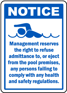 Pool Signs - Recreation Area Signs, Swimming and Pool Signs, F6966