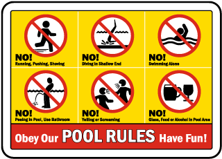 Pool Signs - Pool Rules. No running, pushing, shoving, No diving, No swimming alone, etc - F6970
