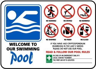 Pool Signs - Welcome to our swimming pool. no running, diving, bombin, shoving, food, etc. - F6972