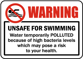 Pool Signs - Warning. Unsafe for swimming. Ware temporarily contaminated,etc.  - F6990