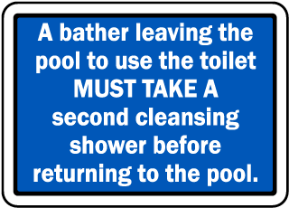 Pool Signs - A bather leaving the pool to use toilet must take a second shower, etc.  - F6991