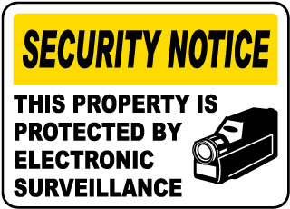 Security Notice This Property Is Protected By Electronic Surveillance Sign