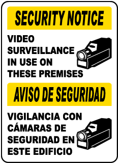 Bilingual Video Surveillance In Use Sign