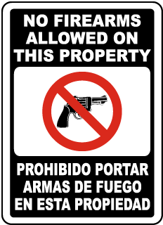 Bilingual No Firearms Allowed on This Property Sign