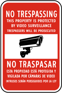 Bilingual No Trespassing This Property Is Protected By Video Surveillance