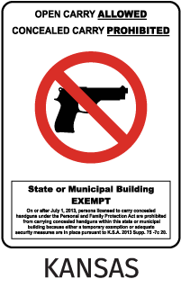 Open Carrying Allowed Concealed Carrying Prohibited State Or Municipal Building Exempt On Or After July 1, 2013, Persons ... Sign