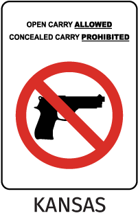 Open Carrying Allowed Concealed Carrying Prohibited Sign