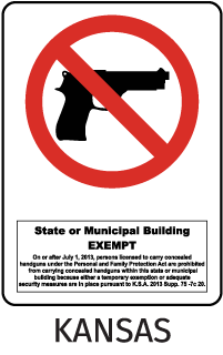State Or Municipal Building Exempt On Or After July 1, 2013, Persons Licensed To Carry Concealed Handguns Under ... Sign