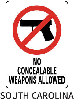 No Concealeable Weapons Allowed Sign