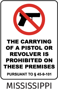 The Carrying Of A Pistol Or Revolver Is Prohibited On These Premises Pursuant To 45-9-101 Sign