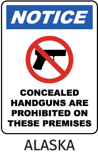 Notice Concealed Handguns Are Prohibited On These Premises Sign