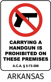 Carrying A Handgun Is Prohibited On These Premises Sign