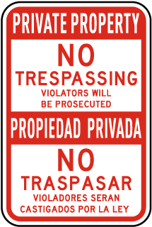 Bilingual Private Property No Trespassing Sign