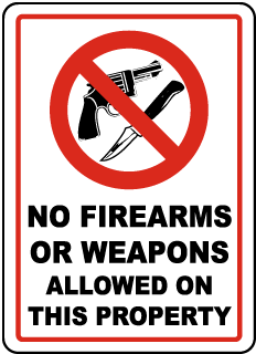 No Firearms or Weapons Allowed Sign