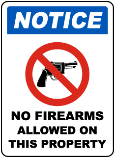 Notice No Firearms Allowed On This Property Sign